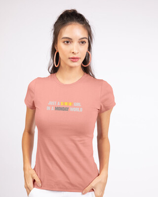 Shop Sunday Girl Half Sleeve Printed T-Shirt Misty Pink-Front