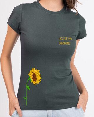 Shop Sunflower Sunshine Half Sleeve Printed T-Shirt Nimbus Grey-Front