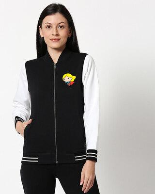 Shop Super Girl Varsity Bomber Jacket-Front