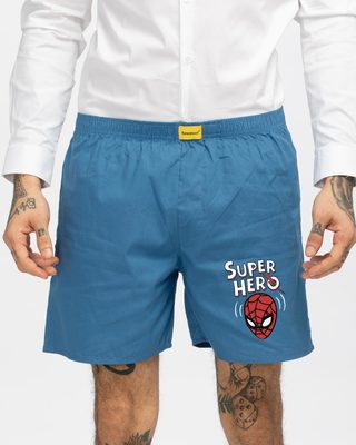 Shop Superhero Spidey Side Printed Boxer (SPL)-Front
