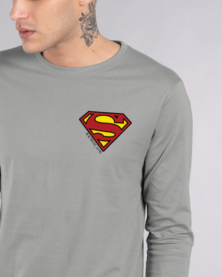 Shop Superman Badge Full Sleeve T-Shirt (SL)-Front