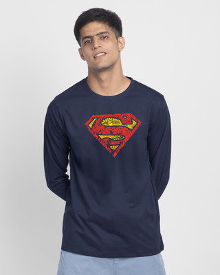 Shop Superman Doodle Full Sleeve T-Shirt (SL)-Front