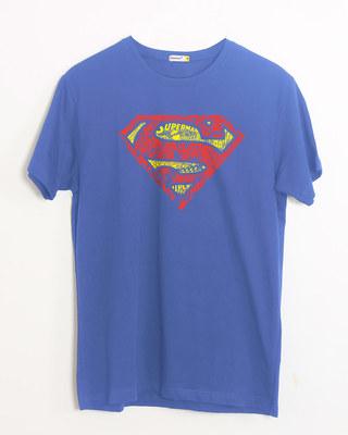 Shop Superman Doodle Half Sleeve T-Shirt (SL)-Front