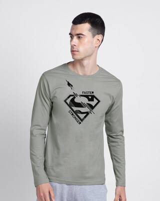 Shop Superman Faster Stronger Full Sleeve T-Shirt (SML)-Front