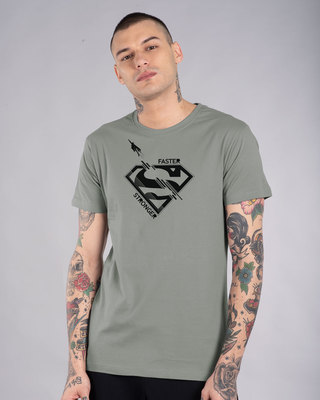 Shop Superman Faster Stronger Half Sleeve T-Shirt (SML)-Front