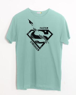 Shop Superman Faster Stronger Half Sleeve T-Shirt (SML)-Front