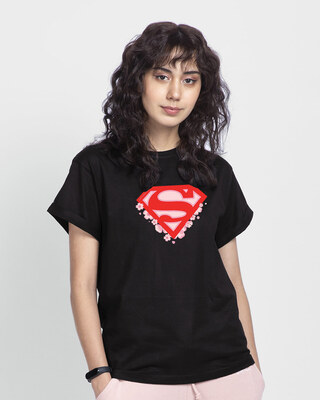 Shop Superman Floral Boyfriend T-Shirts Black (SML)-Front
