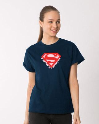 Shop Superman Floral Boyfriend T-Shirts Navy Blue (SML)-Front