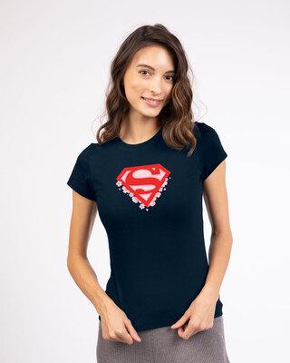 Shop Superman Floral Half Sleeve Printed T-Shirt Navy Blue (SML)-Front