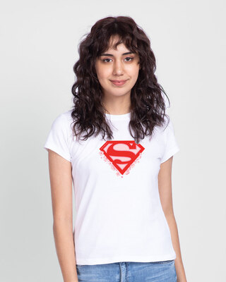Shop Superman Floral Half Sleeve Printed T-Shirt White (SML)-Front