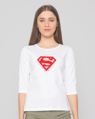 Shop Superman Floral Round Neck 3/4 Sleeve T-Shirts White (SML)-Front