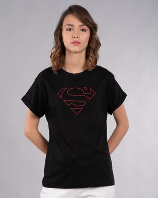 Shop Superman Line Boyfriend T-Shirt (SML)-Front