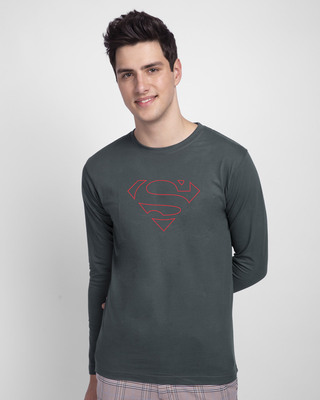 Shop Superman Line Full Sleeve T-Shirt (SML)-Front