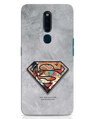 Shop Superman Logo Collage Oppo F11 Pro Mobile Cover-Front