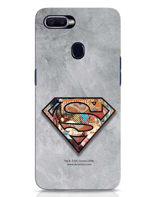 Shop Superman Logo Collage Oppo F9 Pro Mobile Cover-Front