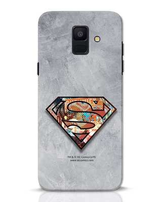 Shop Superman Logo Collage Samsung Galaxy A6 2018 Mobile Cover-Front