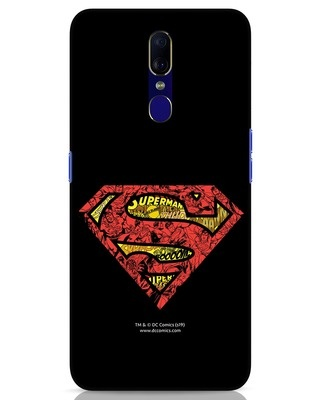 Shop Superman Logo Doodle Oppo F11 Mobile Cover (DL)-Front