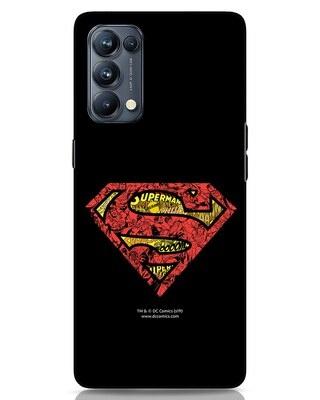 Shop Superman Logo Doodle Oppo Reno 5 Pro Mobile Cover (SL)-Front