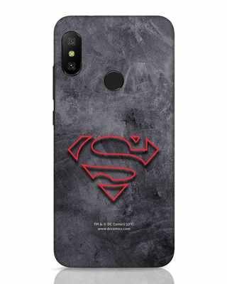 Shop Superman Logo Line Xiaomi Redmi 6 Pro Mobile Cover-Front