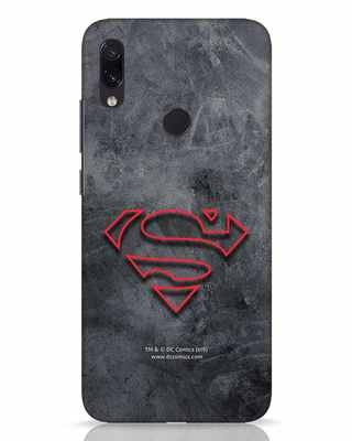 Shop Superman Logo Line Xiaomi Redmi Note 7 Pro Mobile Cover-Front
