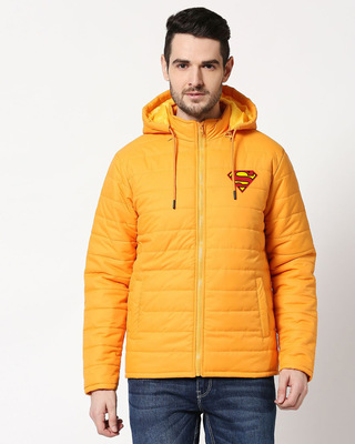 Shop Superman Logo Puffer Jacket with Detachable Hood-Front