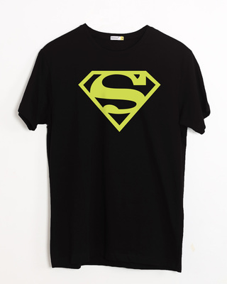 Shop Superman Neon Half Sleeve T-Shirt (SML)-Front