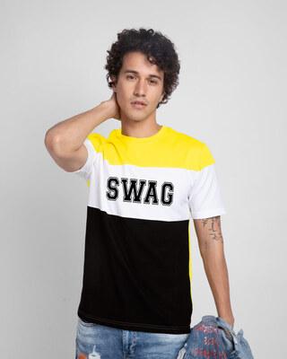 Shop Swag Jersey Color Block T-Shirt-Front