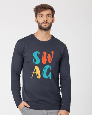 Shop Swag Typography Full Sleeve T-Shirt-Front