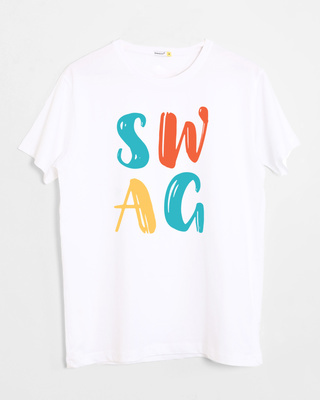 Shop Swag Typography Half Sleeve T-Shirt-Front