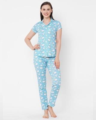 Shop Sweet Dreams Blue Printed Pyjama Sets-Front