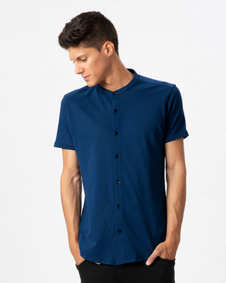 Shop Sydney Blue Mandarin Collar Pique Shirt-Front