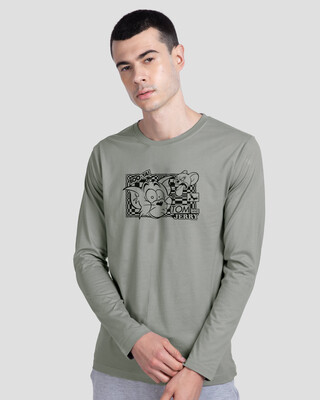 Shop T&J Glitch Men's Printed Full Sleeve T-Shirt (TJL)-Front