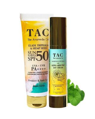 Shop Alpha Arbutin Day Cream SPF 15 Hemp Seed Oil Sunscreen SPF 50-Front