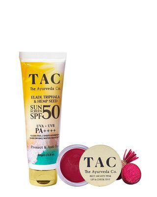 Shop Beet Lip & Cheek Tint and Hemp Seed Sunscreen SPF 50-Front