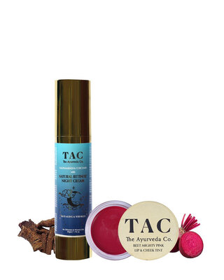 Shop TAC- The Ayurveda Co. Beet Lip & Cheek Tint and Natural Retinol Night Cream for Anti-Aging-Front