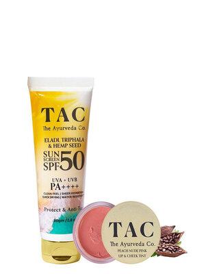Shop TAC- The Ayurveda Co. Peach Lip & Cheek Tint 10g and Eladi,Triphala & Hemp Seed Sunscreen SPF 50-Front