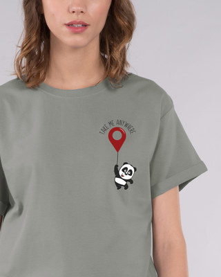 Shop Take Me Anywhere Panda Boyfriend T-Shirt-Front