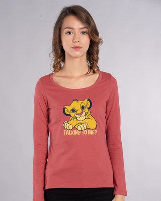 Shop Talking To Simba Scoop Neck Full Sleeve T-Shirt (DL)-Front