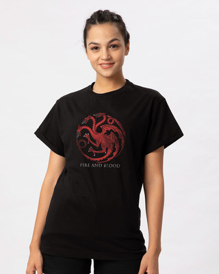 Shop Targaryen Fire And Blood Boyfriend T-Shirt (GTL)-Front