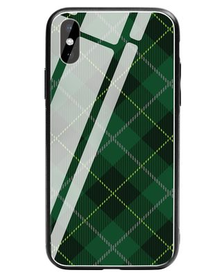 Shop Tartan Print iPhone XS Glass Mobile Cover-Front