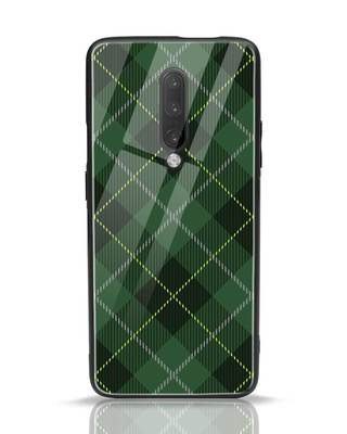 Shop Tartan Print OnePlus 7 Pro Glass Mobile Cover-Front