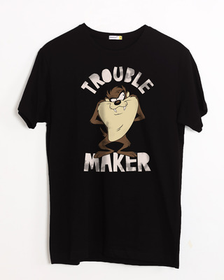 Shop Taz Trouble Maker Half Sleeve T-Shirt (LTL)-Front