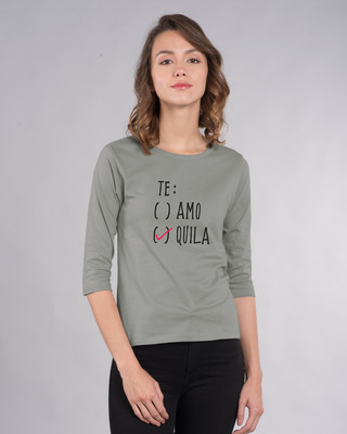 Shop Te-quila Round Neck 3/4th Sleeve T-Shirt-Front