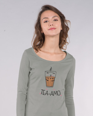 Shop Tea-amo Scoop Neck Full Sleeve T-Shirt-Front