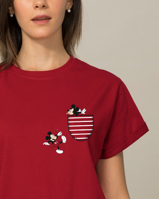 Shop Teasing Mickey Boyfriend T-Shirt (DL)-Front