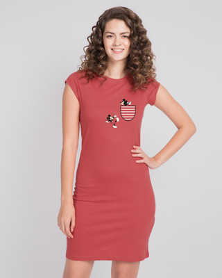 Shop Teasing Mickey Cap Sleeve T-Shirt Dress (DL)-Front
