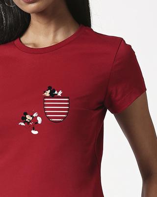 Shop Teasing Mickey Half Sleeve T-Shirt (DL)-Front