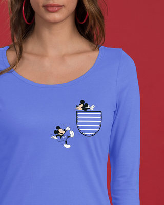 Shop Teasing Mickey Scoop Neck Full Sleeve T-Shirt (DL)-Front