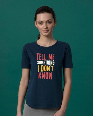 Shop Tell Me Something Basic Round Hem T-Shirt-Front