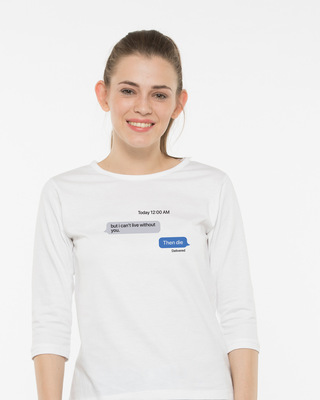 Shop Texting 12am 3/4th Sleeve T-Shirt-Front